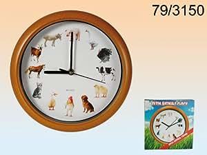 horloge enfants animaux de la ferme animal farm avec des bruits d 39 animaux mod le en cadre bois. Black Bedroom Furniture Sets. Home Design Ideas