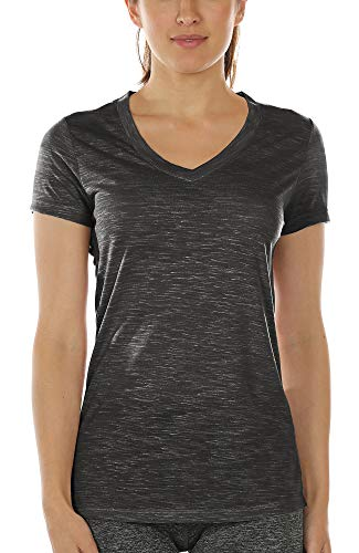 icyzone Damen Sport T-Shirt V-Ausschnitt - Laufshirt Kurzarm Top Trainingsshirt Fitness Oberteile Sportbekleidung (S, Black)