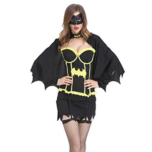 Frauen Kostüm Pimp Halloween - Lazzboy Frauen Halloween Kostüm Fledermaus Rock Cosplay Kleid Kleidungsstück Schauspielkleidung Damen Faux Leder Corsagenkleid Korsett übergrößen Schwarz(Schwarz,M)