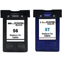 56 Cartuchos Reemplazo Para HP 56 HP 57 Cartuchos de tinta para HP Photosmart/Deskjet/Officejet Serie, PSC 1315 (1 negro +1 color)