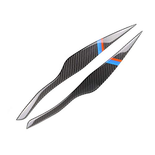 Flushzing 1Pair Carbon-Faser-Scheinwerferblenden Eyelids Aufkleber Ersatz für BMW E90 320i 325i 330i 2005-2012