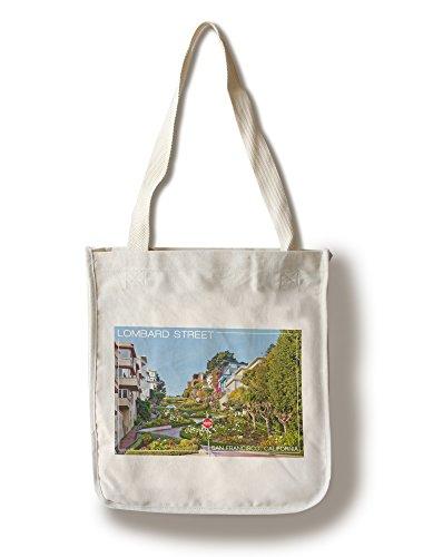 San Francisco, California Lombard Street Tote Canvas Tote Bag Mehrfarbig - California Fashion Home