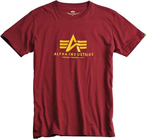 Alpha Industries Basic T-Shirt Burgunderrot XS - Flag Grey T-shirt