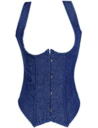 Dissa® Vintage Denim Corset Seins Nus Avec G-String, Bleu
