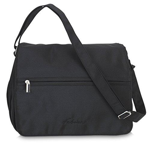 Damen Handtasche Umhängetasche Microfaser Tasche mit verstellbarem Schultergurt & Reißverschluss - schwarz (Schwarze Microfaser-handtasche)