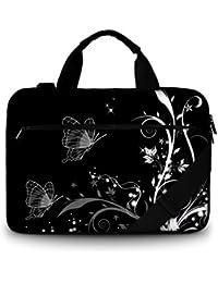 Luxburg® Design sacoche business rembourrée pour ordinateur portable à 15,6 pouces, sac à bandoulière multifonctionnel, motif: Ornament de plantes papillon noir et blanc