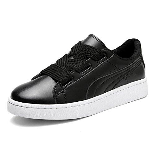 HWF Damenschuhe Federteller Schuhe Frauen Sport flache Freizeitschuhe Single Student Damenschuhe ( Farbe : Schwarz , größe : 39 )