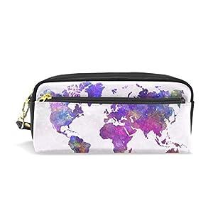 zzkko Watercolor Abstract mapa del mundo funda de piel cremallera lápiz pluma estacionaria bolso de la bolsa de cosméticos bolsa bolso de mano