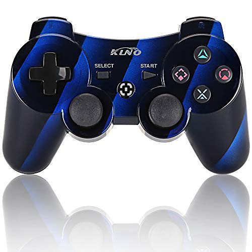 PS3 Controller Wireless Dualshock Joystick - klno Bluetooth Gamepad-Achsen-, Super Power, USB Ladegerät, 6-Achsen, Dualshock3, 1 Kabel Blau Interval Blue - Controller Blau Ps3 Wireless