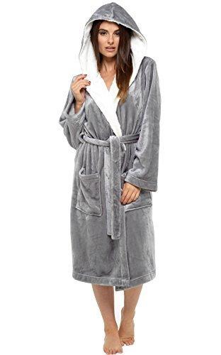Best Deals Direct Ladies Hooded Shimmer Fleece Dressing Gown Robe Winter Warm (Medium, Grey)