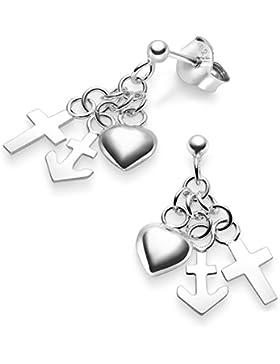 Silvinity 925 Silber Ohrringe Glaube Liebe Hoffnung - Damen Ohrstecker lang mit Kreuz Herz Anker + Etui 20x8mm...