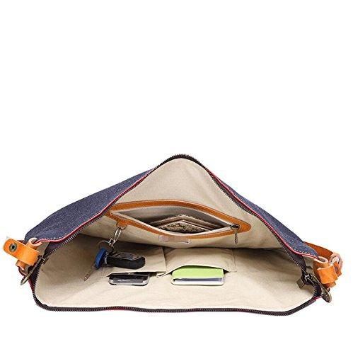 LF&F EuropäIsches Denim / Leder UmhäNgetasche LäSsig Personalisierte Reisetasche Multifunktionale Weibliche Kuriertasche Handy Tasche Dokumententasche B
