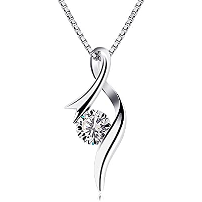 B.Catcher Women Necklace Sterling Silver Cubic Zirconia Pendant Necklaces