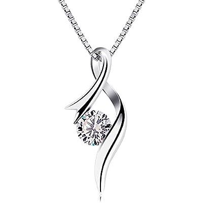 B.Catcher Women Necklace Sterling Silver Cubic Zirconia Pendant Necklaces