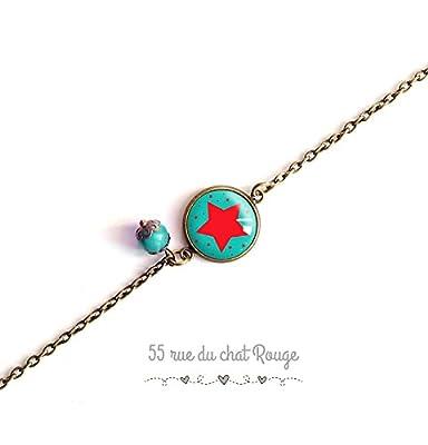 bracelet chaine fine, cabochon étoiles rouge, couleur turquoise