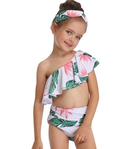 Set One Shoulder Badeanzug Push Up Mädchen Bademode Frauen Bikini Shorts mit Oberteil Übergröße Bikinis Badeanzüge Badekleid Strandkleidung Badebekleidung Große Größen Grün 128 ()