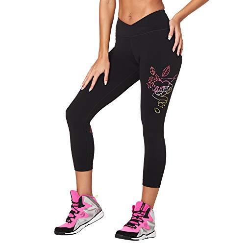 Zumba Damen Dance Workout Capri Pants Athletic Compression Leggings Hosen, B2B Black, X-Small -