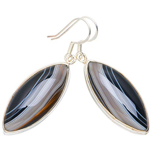 a6b4d0c5f Natural Botswana Agate Handmade Unique 925 Sterling Silver Earrings 2