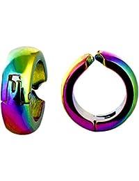 GadgetsDen Anodised Multi Color Clip-on Press Unisex Stud Fashion non-piercing hoop earrings
