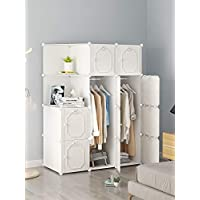 BECCOBEAT White Wardrobe Cube Storage Boxes for Clothes Organiser Bedroom Modern Furniture Plastic Cabinet Closet Cubes Unite (10 cubes)
