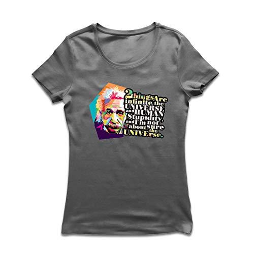 Physik Lehrer Kostüm - lepni.me Frauen T-Shirt Wissenschaftler Physik Albert Einstein Menschliche Dummheit Sarkastisches Zitat (Medium Graphit Mehrfarben)