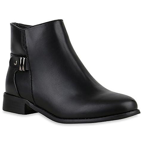 Ankle Boots Damen Schnallen Metallic Lederoptik Stiefeletten Schuhe 123658 Schwarz Brito 38   Flandell®