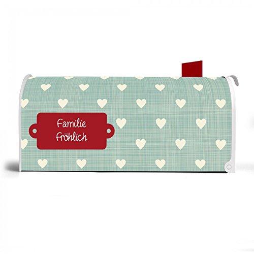 BANJADO US Mailbox | Amerikanischer Briefkasten 51x22x17cm | Letterbox Stahl weiß | mit Motiv WT Muster Herzen, Briefkasten:ohne Standfuß - 4
