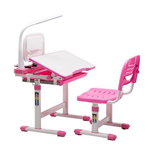 mecor Kinderschreibtisch mit Stuhl und Schublade, Höhenverstellbar Schülerschreibtisch Jugendschreibtisch für Kinder, Multifunktionale Schreibtisch Set, Arbeitsplatz mit Lagerung, inkl. Lampe/Rosa