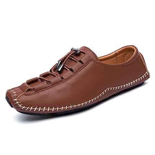 Zapatos de Barco de lujo Driving Loafers für Herren Bootsschuhe Kordelzug Echtes Leder Superflexibel Erfahren Genäht Atmungsaktiv Leichte Lug Sohle Boat Shoes (Color : Dark-Brown, Größe : 41 EU) -