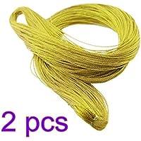 STOBOK 2 Rollos Cuerda metálica Cuerda de la joyería Etiqueta de la Cuerda Cuerda de Regalo de Nylon Cuerda 1 mm 100 Yarda/Rollo (Oro Claro)