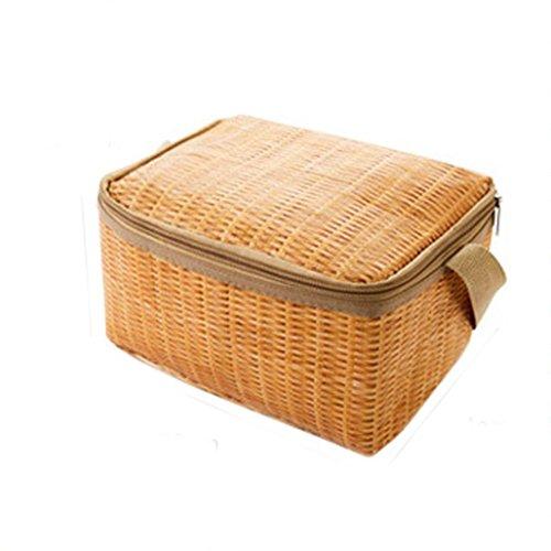 Rosennie Lunchtaschen Lunchbox Canvas Lunch-Taschen Mädchen Lunchbox Isolierte kalte Imitat Rattan Handtasche Wasserdichte Portable Picknick Tragetasche Thermische Mittagessen Tasche (Khaki)