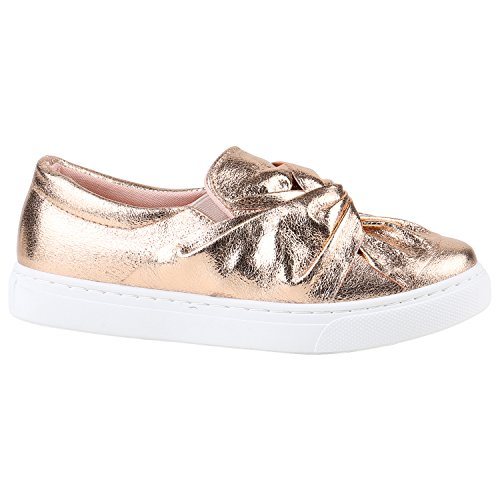 Damen Slipper Sneakers Slip-ons Lederoptik Schuhe Schleifen Rose Gold Weiss