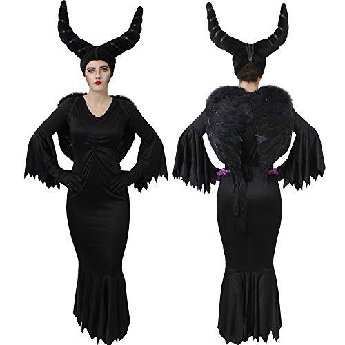 Kostüm Zauberin Böse Königin - ILOVEFANCYDRESS MALEFI = BÖSE STIEFMUTTER KÖNIGIN KOSTÜM VERKLEIDUNG MÄRCHEN Fasching Karneval Halloween=BEINHALTET=Kleid+ Schwarze Handschuhe+Kappe MIT HÖRNERN +Schwarze FLÜGEL=MEDIUM