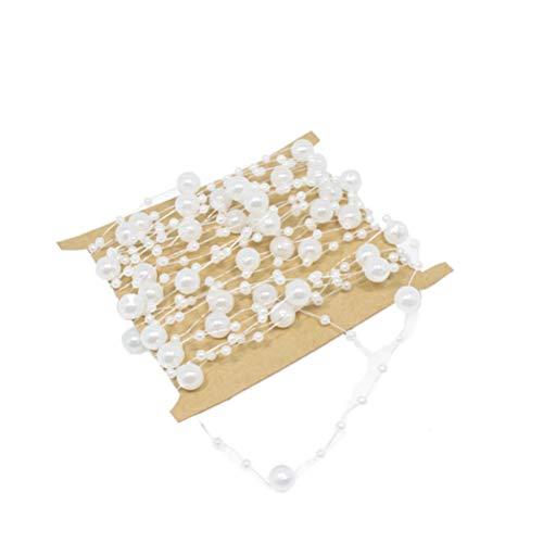 Toyvian Angelschnur Künstliche Perlen Saiten 5 mt Perlen Kette Garland DIY Schmuck Zubehör für Kostüm Hochzeit Dekoration (2 stücke-Weiß)