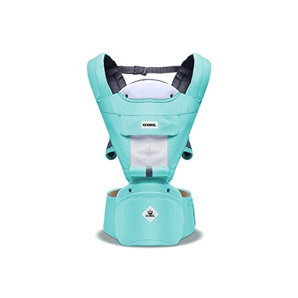 SONARIN Multifunctional Hipseat Baby Carrier,Breathable Straps, Ergonomic, 100% Cotton, Large Capacity Storage,11 Carrying Positions,Adapted to Your Child's Growing,Ideal Gift(Light Green) SONARIN  1