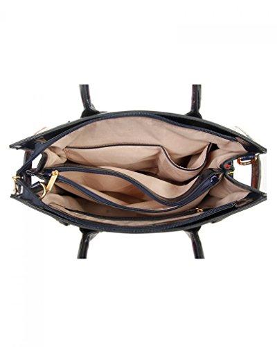 LeahWard Damen Patent Flower Large Size Handtaschen Einkaufstasche für Frauen Urlaub 605 (PERLE BUSINESS-TASCHE) PERLE TOTE