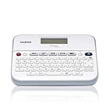 Brother PT-D400 Label Maker, P-Touch Label Printer, Desktop, QWERTY Keyboard, Up to 18 mm Labels, Includes Batteries/18 mm Black on White Tape Cassette
