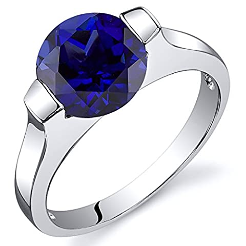 Revoni Bezel Set 2.75 carats Blue Sapphire Engagement Ring in Sterling Silver Size J,