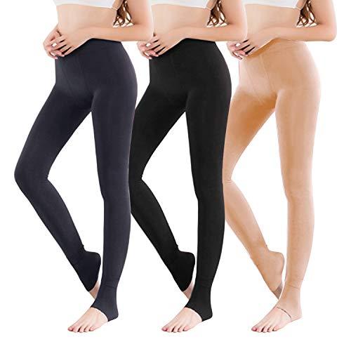 Vertvie 1/3/5er Pack Damen Thermo Strumpfhose Leggings mit Innenfleece für Herbst Winter Super Strech Warm Blickdichte Leggins (Schwarz + Hautfarbe + Grau, one Size)