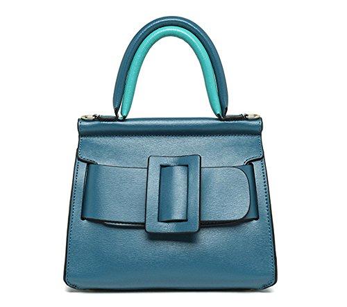 Xinmaoyuan Borse donna spalla Vacchetta Borsette semplice moda della fibbia della cintura di sicurezza di colore solido Square,blu Blue