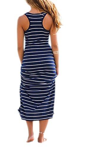DELEY Femmes Bande Bodycon Robe Gilet d'Été de Vacances à la Plage Tunique Shirt Maxi Robe Bleu