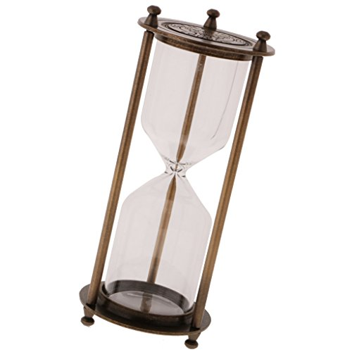Blesiya Retro Metal Frame Empty Reloj De Arena Sandglass Sand Timer Home Decor - Bronce, Tamaño (DxH): 8 x 21 cm