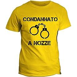 fashwork Tshirt Addio al Celibato Condannato a Nozze - Bachelor Party - Humor - Idea Regalo - in Cotone