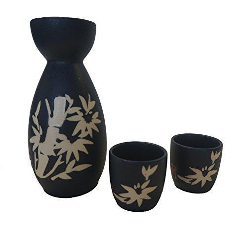 Dark Blue Saki Set with Bamboo Picture -