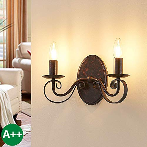 te, Wandlampe Innen 'Caleb' dimmbar (Landhaus, Vintage, Rustikal) in Braun aus Metall u.a. für Flur & Treppenhaus (2 flammig, E14, A++) - Wandstrahler, Wandbeleuchtung Schlafzimmer ()