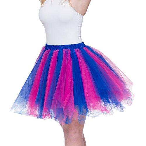 Dancina Damen Petticoat 50er Jahre Retro Tutu Tüllrock [Sticker XL] Blau/Pink Gr. 36-40