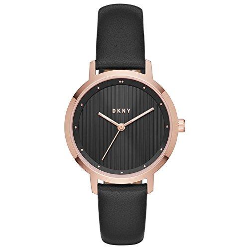 DKNY Damen Analog Quarz Uhr mit Leder Armband NY2641 - Dkny Damen-schwarz-leder