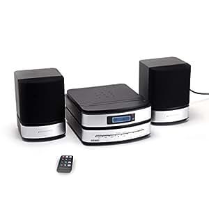 Duronic RCD144 Chaine Hi-Fi avec lecteur CD/CD MP3/USB/Cartes SD, radio AM/FM, prise auxiliaire et télécommande – Connectez et écoutez votre musique préférée depuis MP3/iPhone/iPod/Téléphone mobile