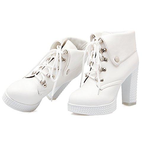 UH Femmes Chaussures Bottes avec Lacet à Talons Blocs avec Fourrure Chaud et Confortables pour L'hiver Blanc