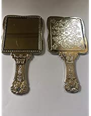 Victor Enterprises Square Decoratively Carved Plastic Handheld Vanity Mirror